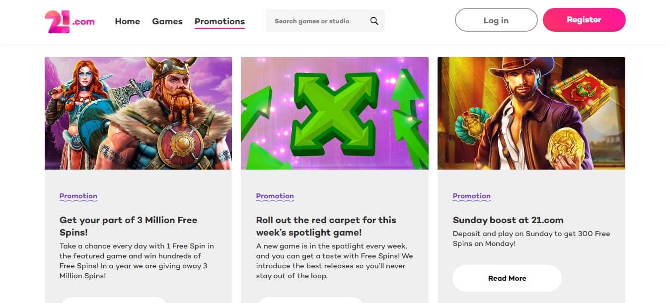 21com Casino Promotions